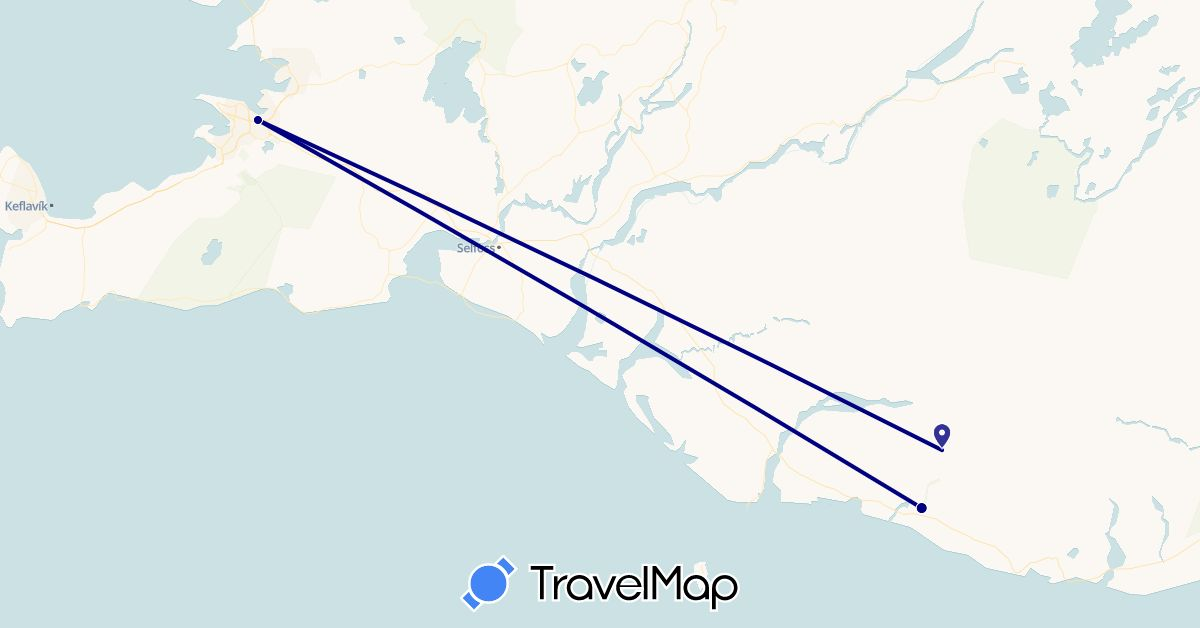 TravelMap itinerary: driving in Iceland (Europe)